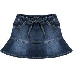 Saia Look Jeans Feminina Babado