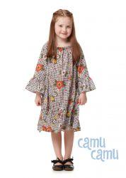 Vestido Camu Camu Feminino Xadrez Floral