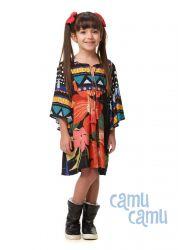 Vestido Camu Camu Feminino Infantil Flores Abstratas
