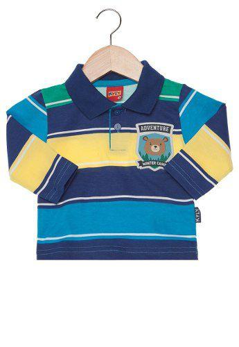 Camisa Polo Kyly Urso Azul Infantil