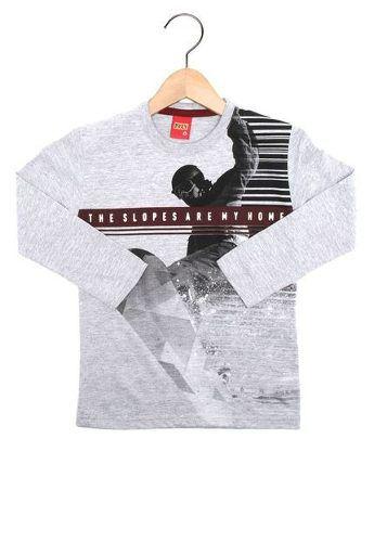 Camiseta Kyly Manga Longa Menino Cinza