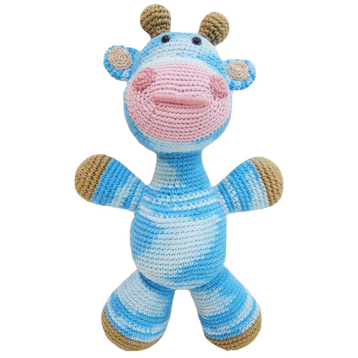 Girafa Bicho Croche Amigurumi Fofinho Grande Azul