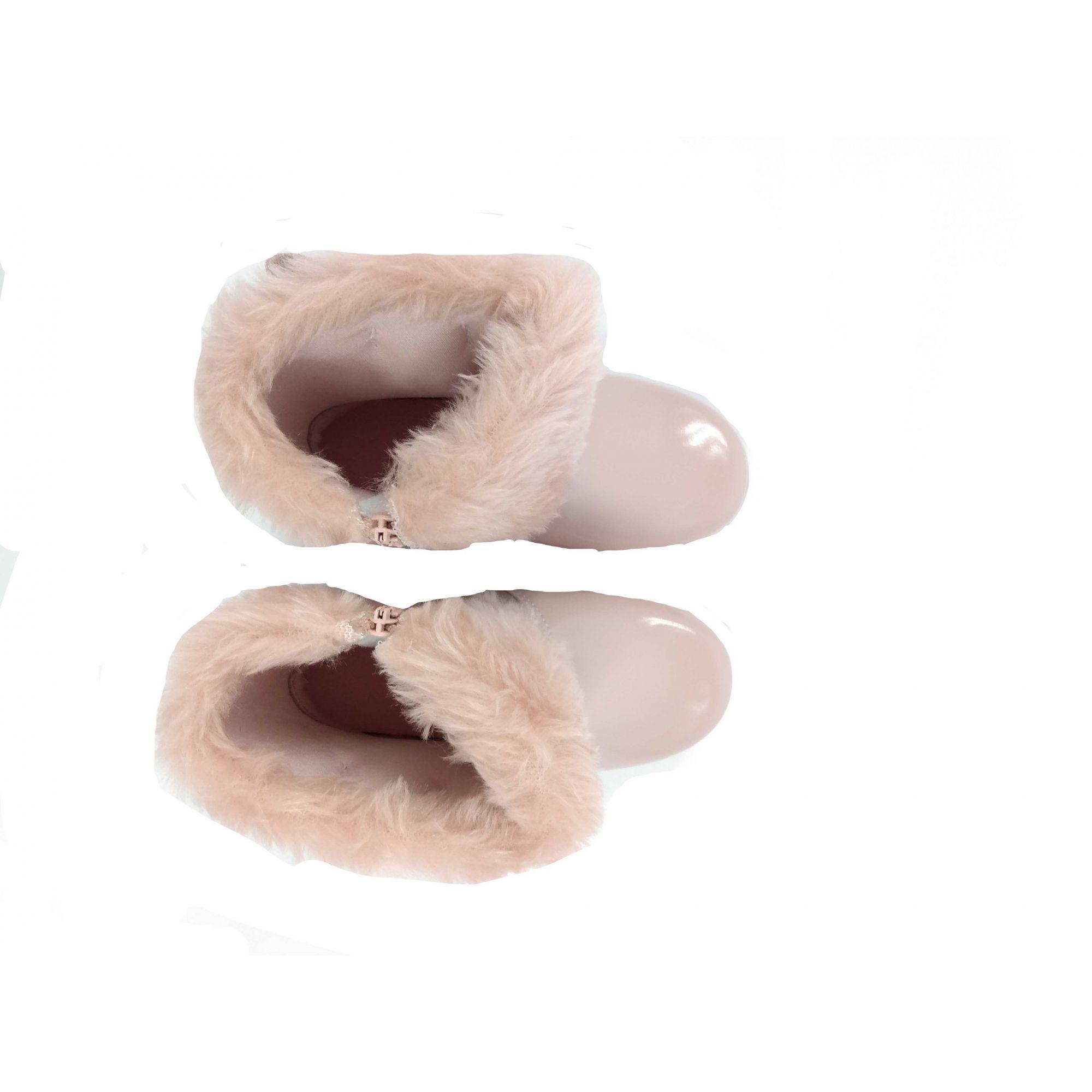 Bota Meli Feminina Nude Pelúcia