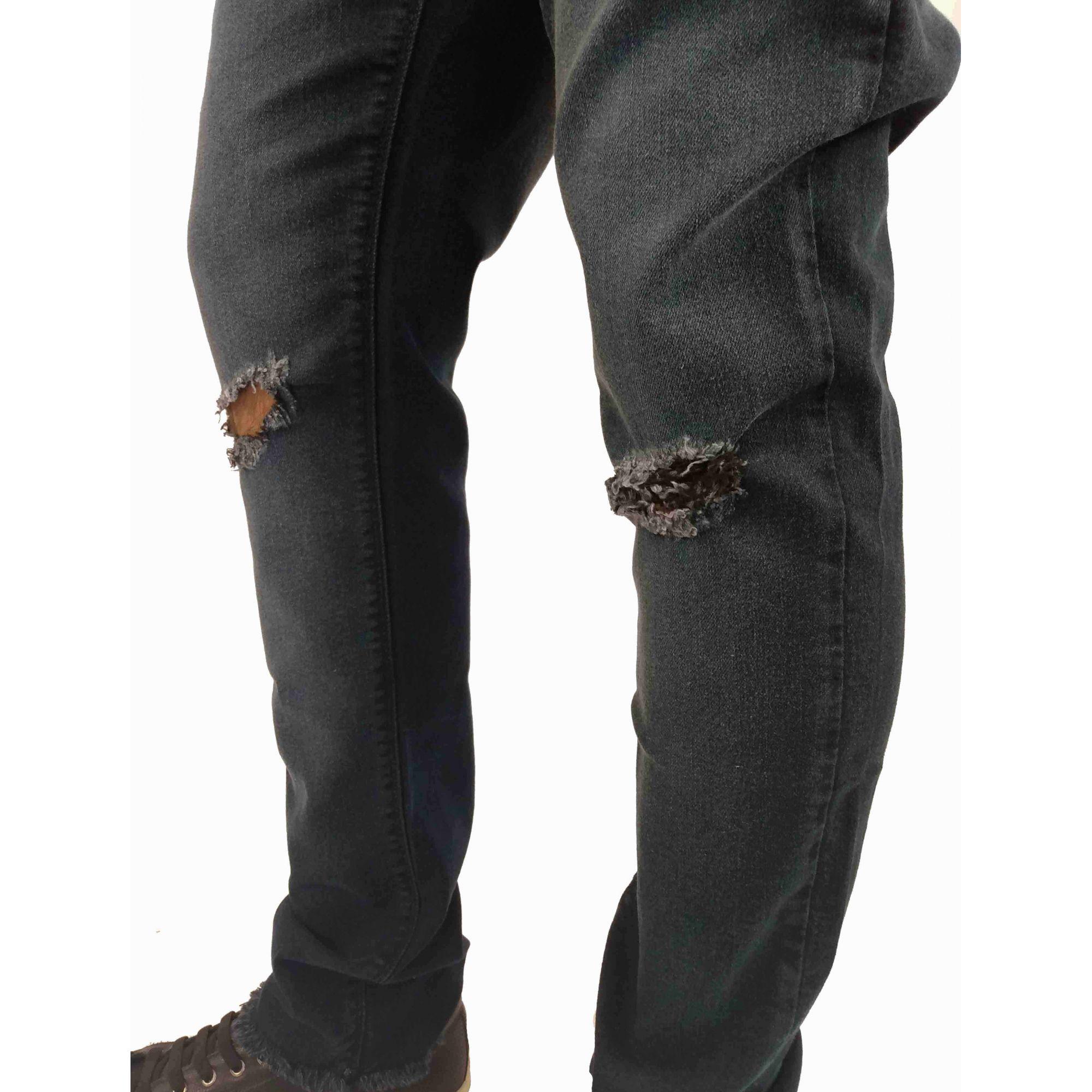 Calça Cavalera Masculina Destroyed  Skinny Jeans Escura