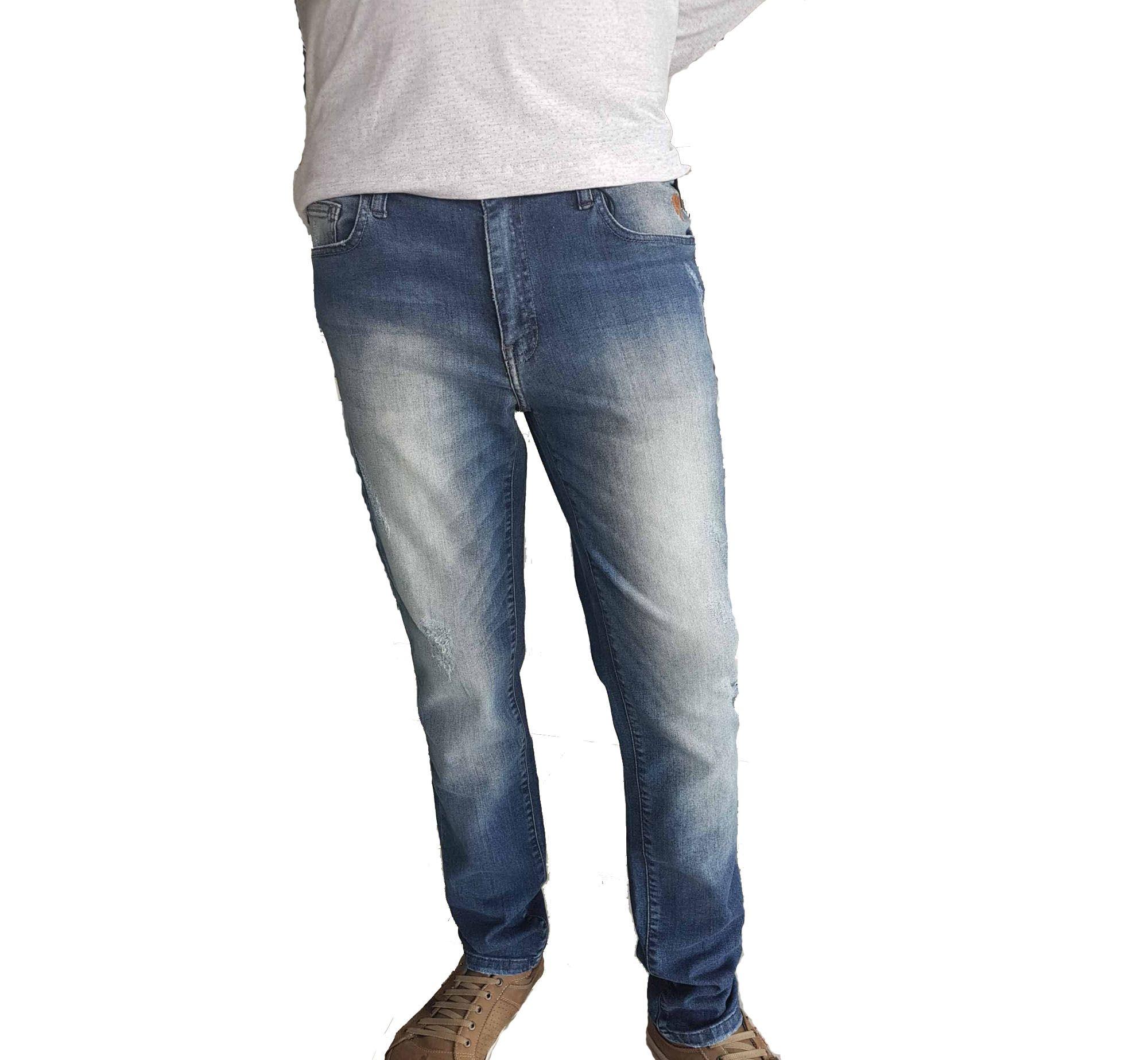 f165b48ea Calça Jeans Skinny Cavalera Rasgados Masculino Azul