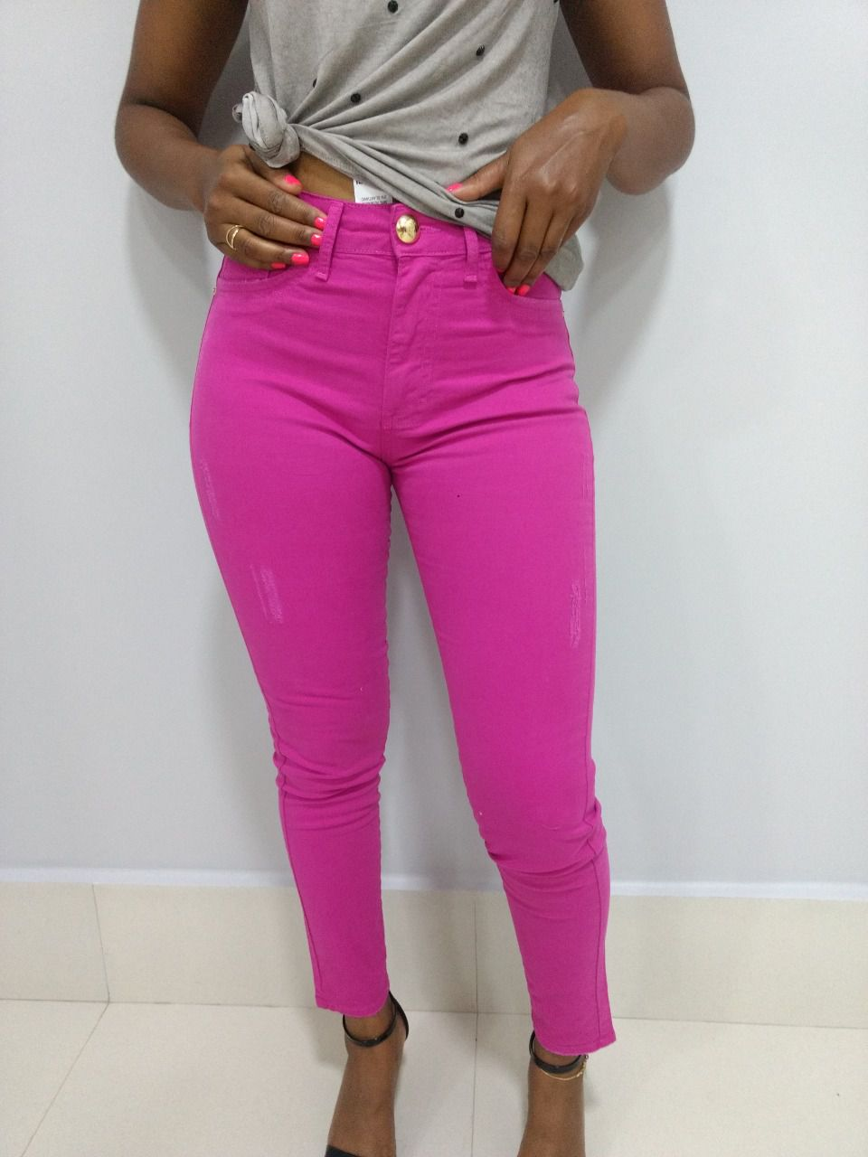 Calça Jeans Feminina Pink Sarja