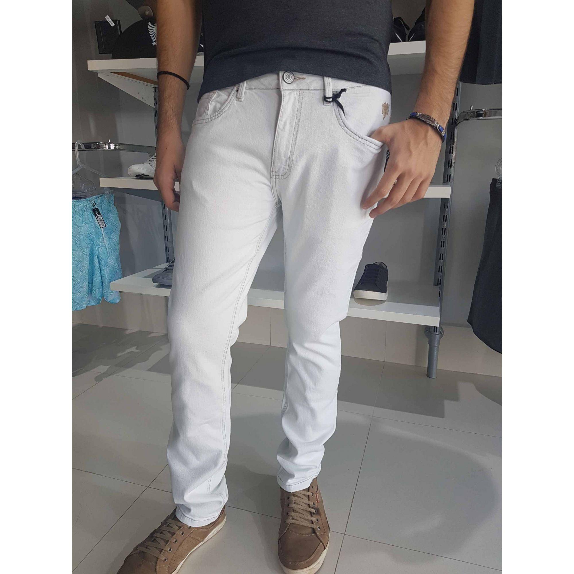 Calça Cavalera Masculina Jeans Branca Reta Super Delave