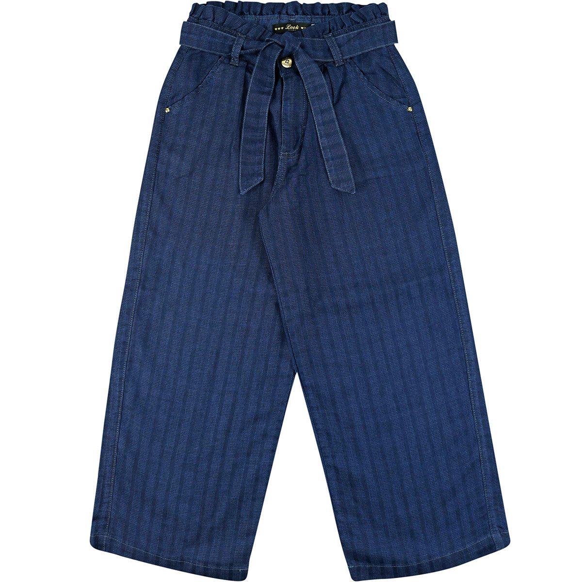 Calça Look Jeans Pantacourt Feminina Azul