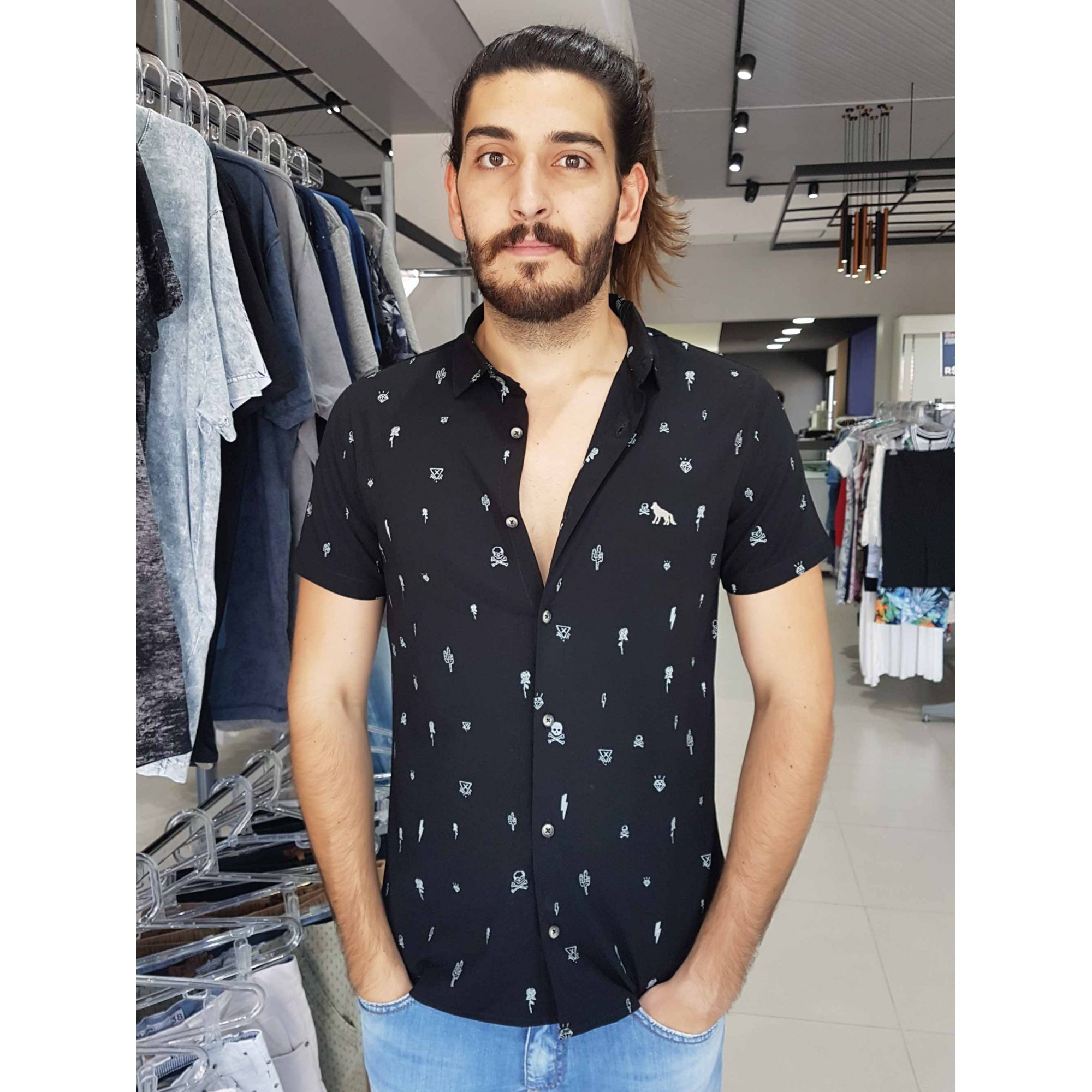 Camisa Acostamento Masculina Social Manga Curta Preta