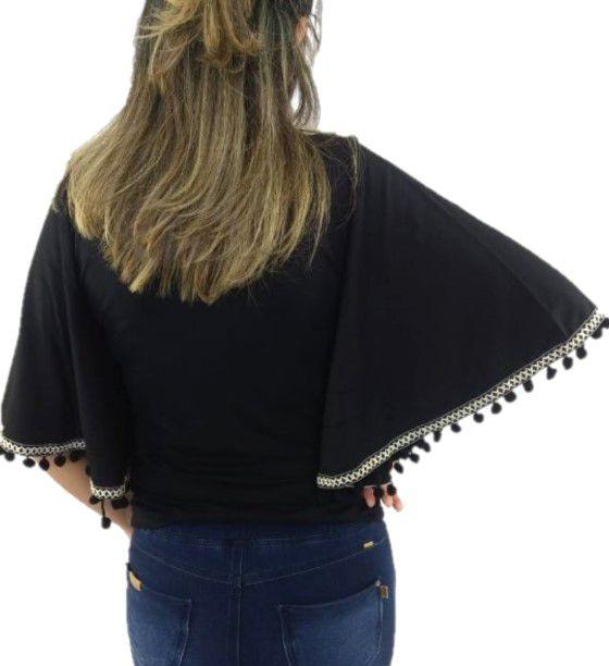 Camisa Camu Camu Feminina Preta Confort