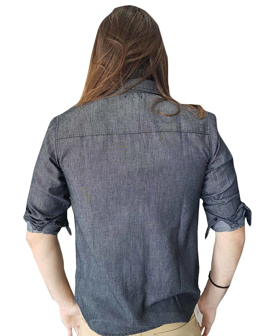 Camisa Cavalera Masculina Manga Longa Preta