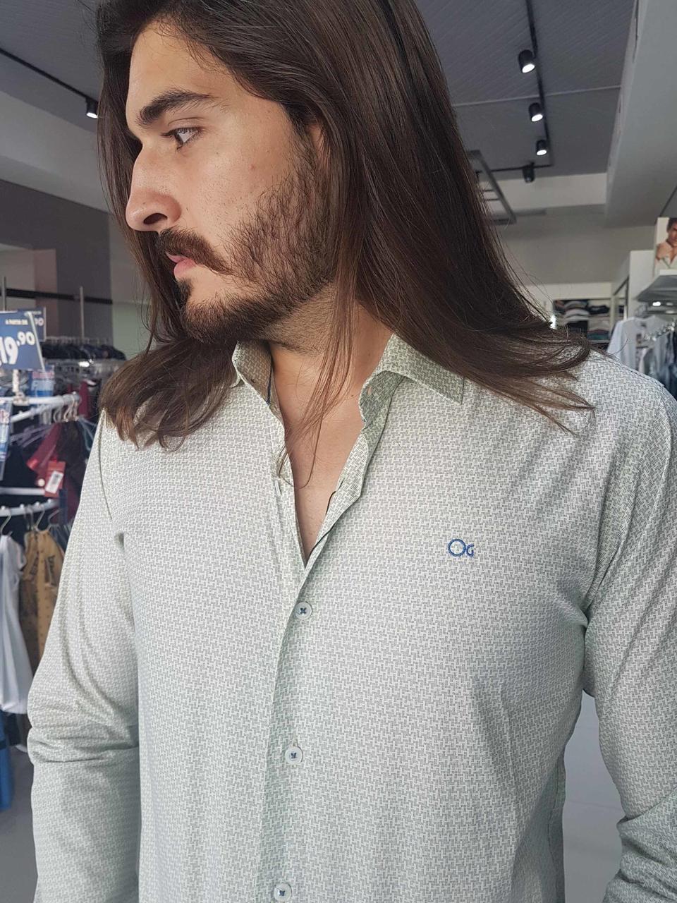 Camisa Ogochi Masculina Manga Longa Social Estampada  - Pick Tita