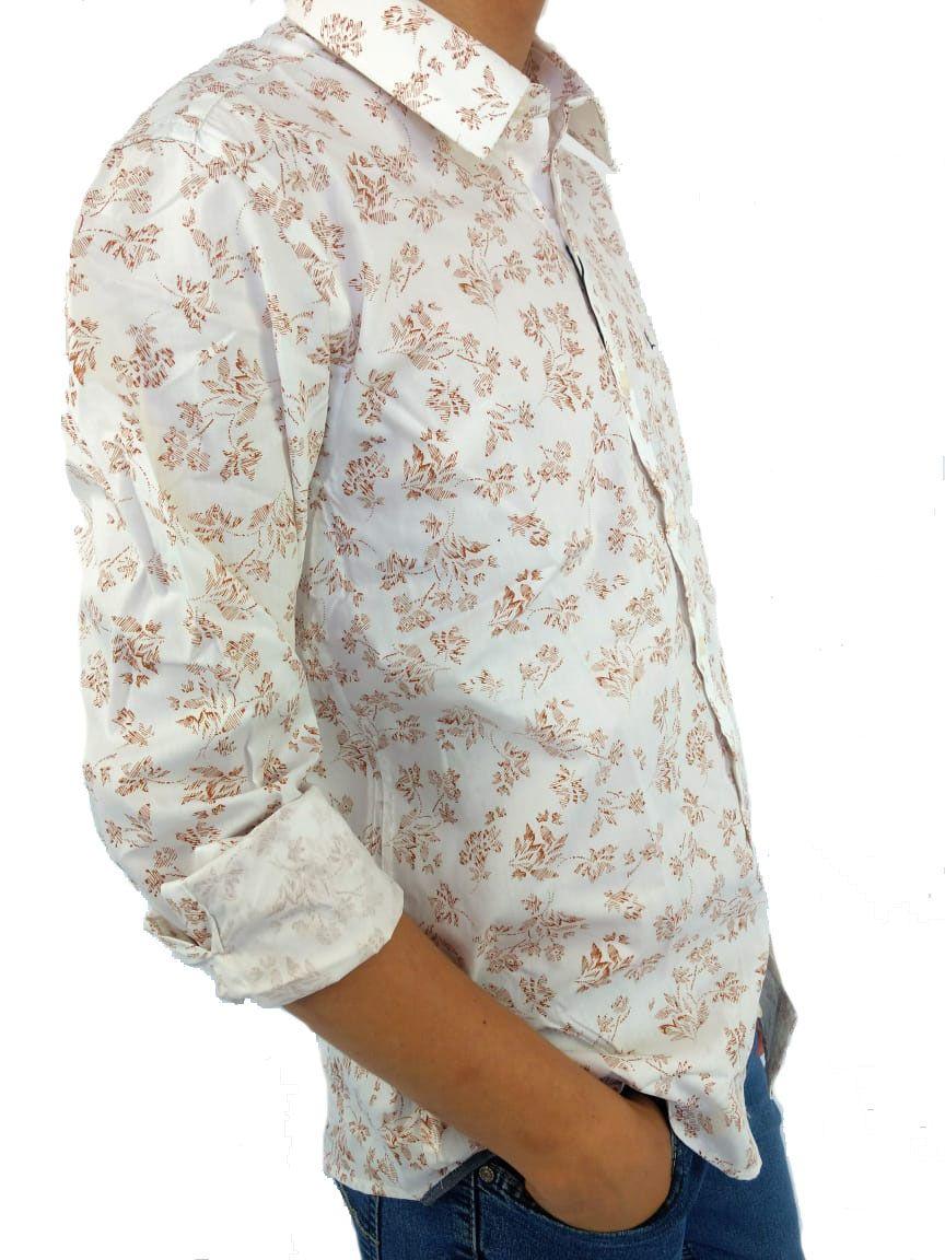 Camisa Masculina Yachtmaster Branca Estampada