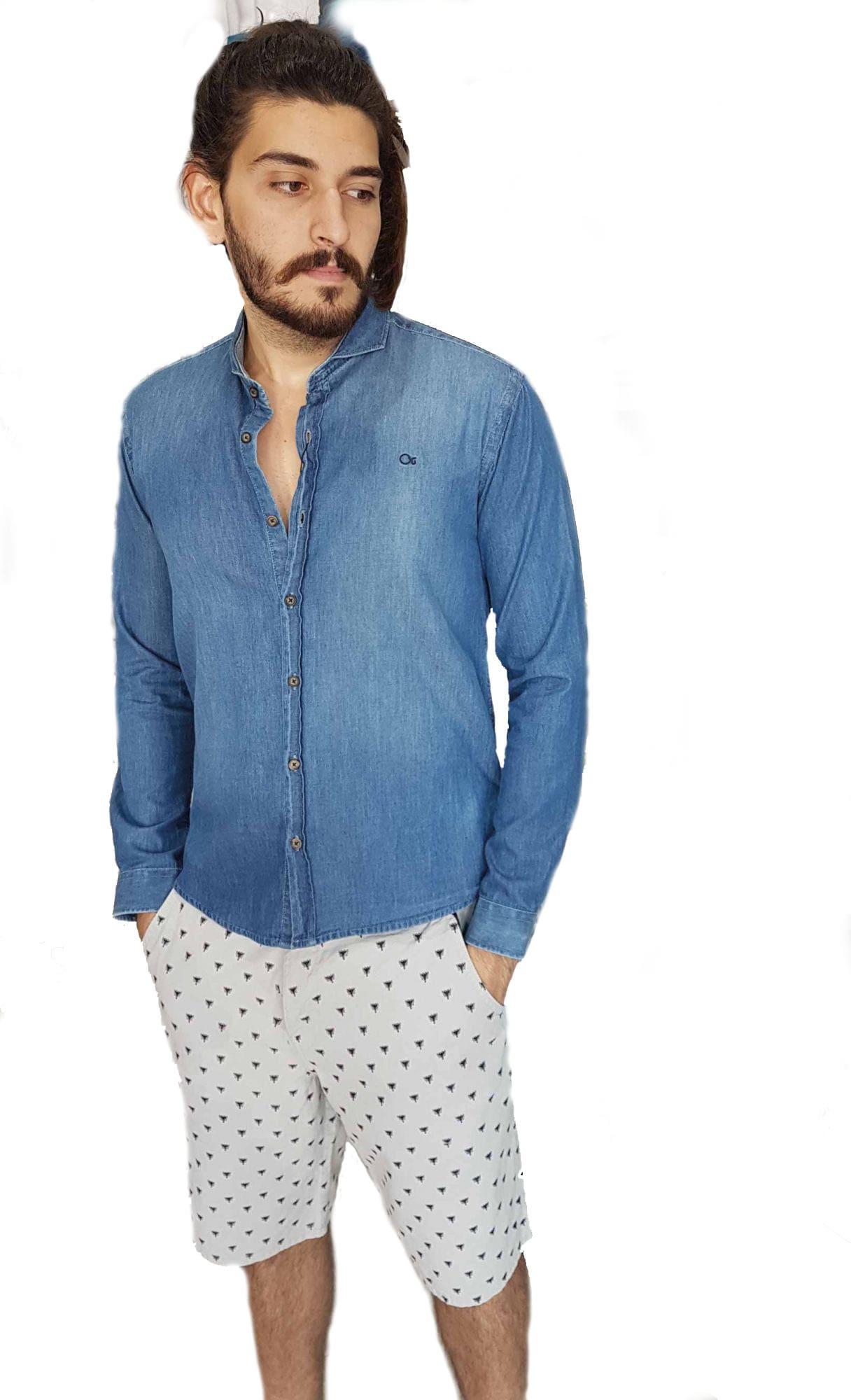 Camisa Ogochi Masculina Jeans Manga Longa Social
