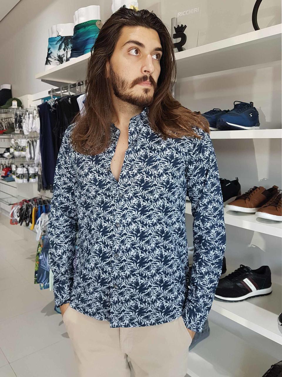 Camisa Masculina Conforto Floral Azul