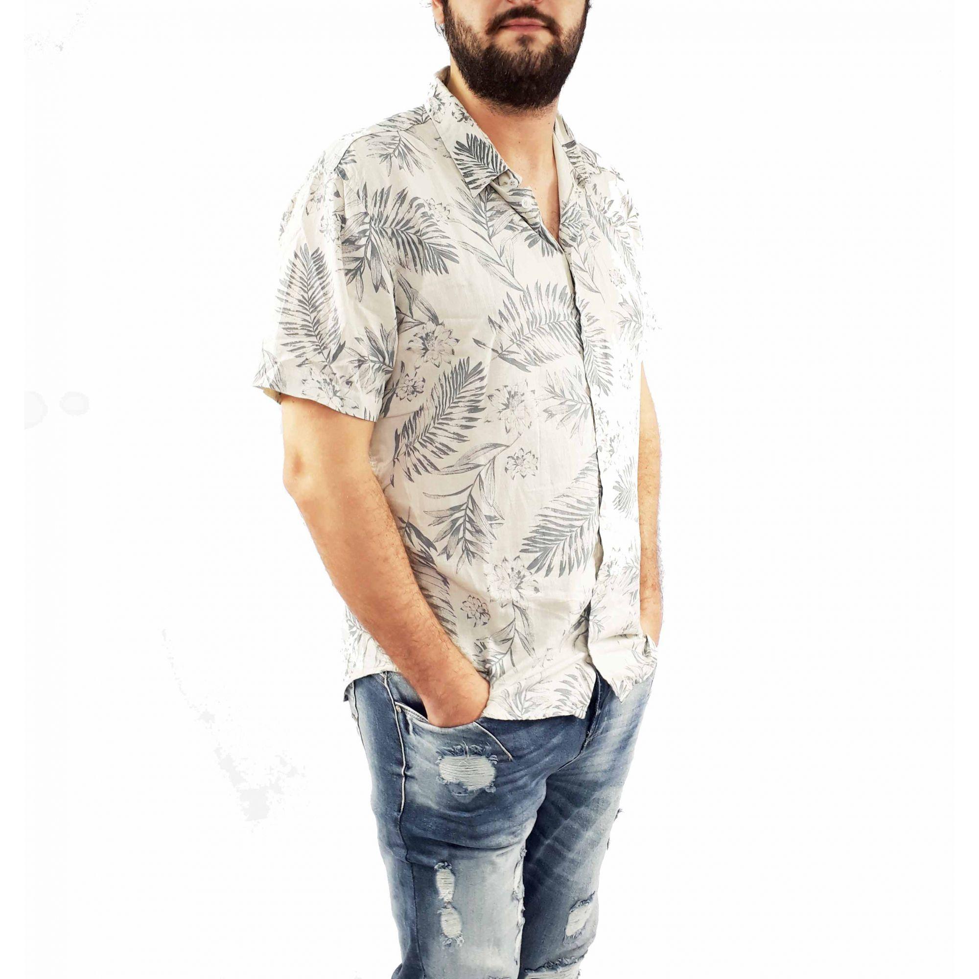 Camisa Yonders Masculina Estampada Floral Manga Curta