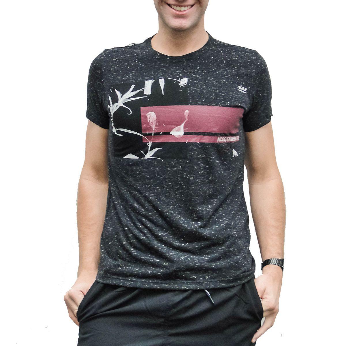 Camiseta Acostamento Masculina Folhas Chumbo