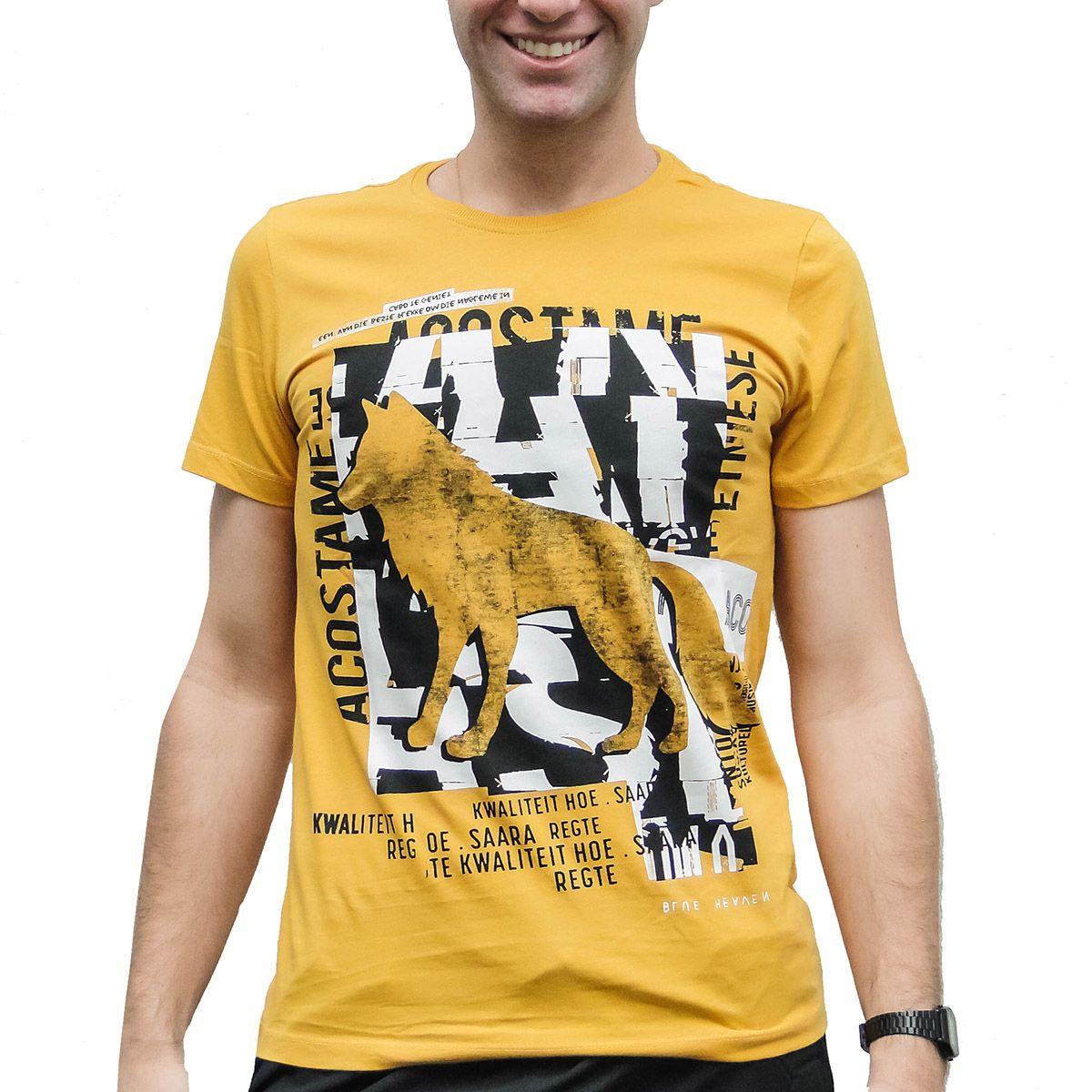 Camiseta Acostamento Masculina Lobo Amarela