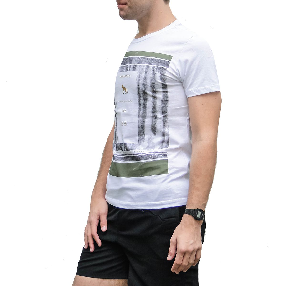 Camiseta Acostamento Masculina Branca Africa Continente