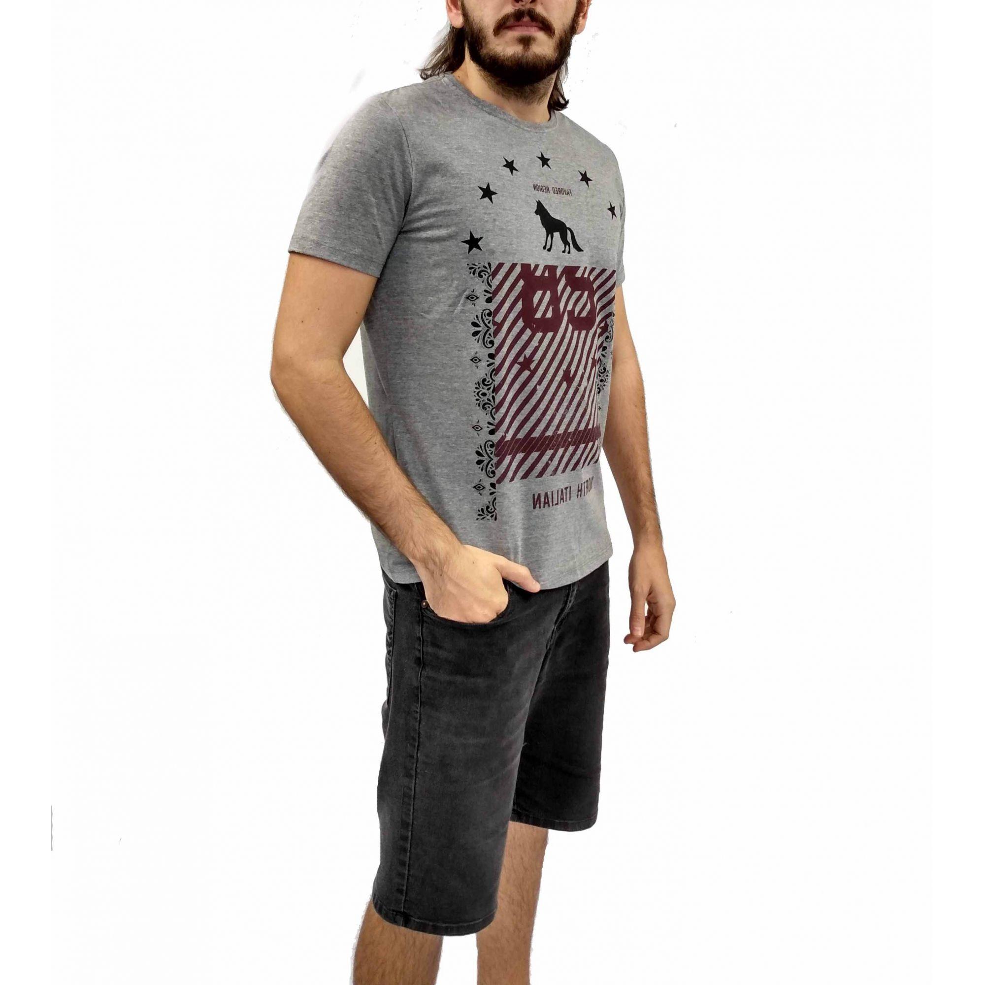 Camiseta Acostamento Masculina Cinza Lobo