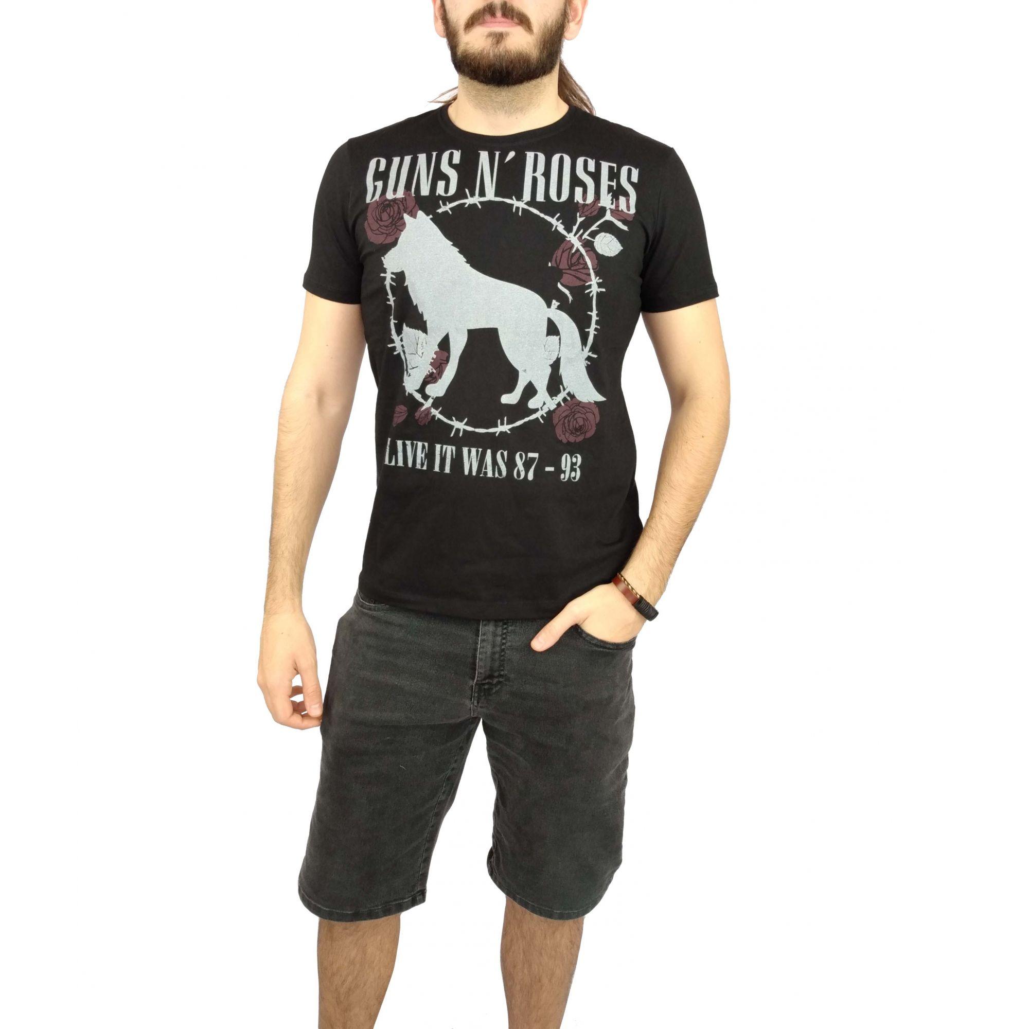 Camiseta Acostamento Masculina Guns n' Roses Preta