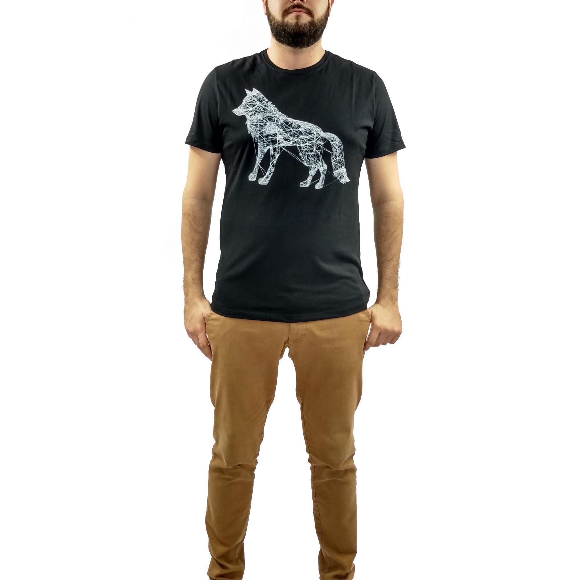 Camiseta Acostamento Masculina Lobo Preta