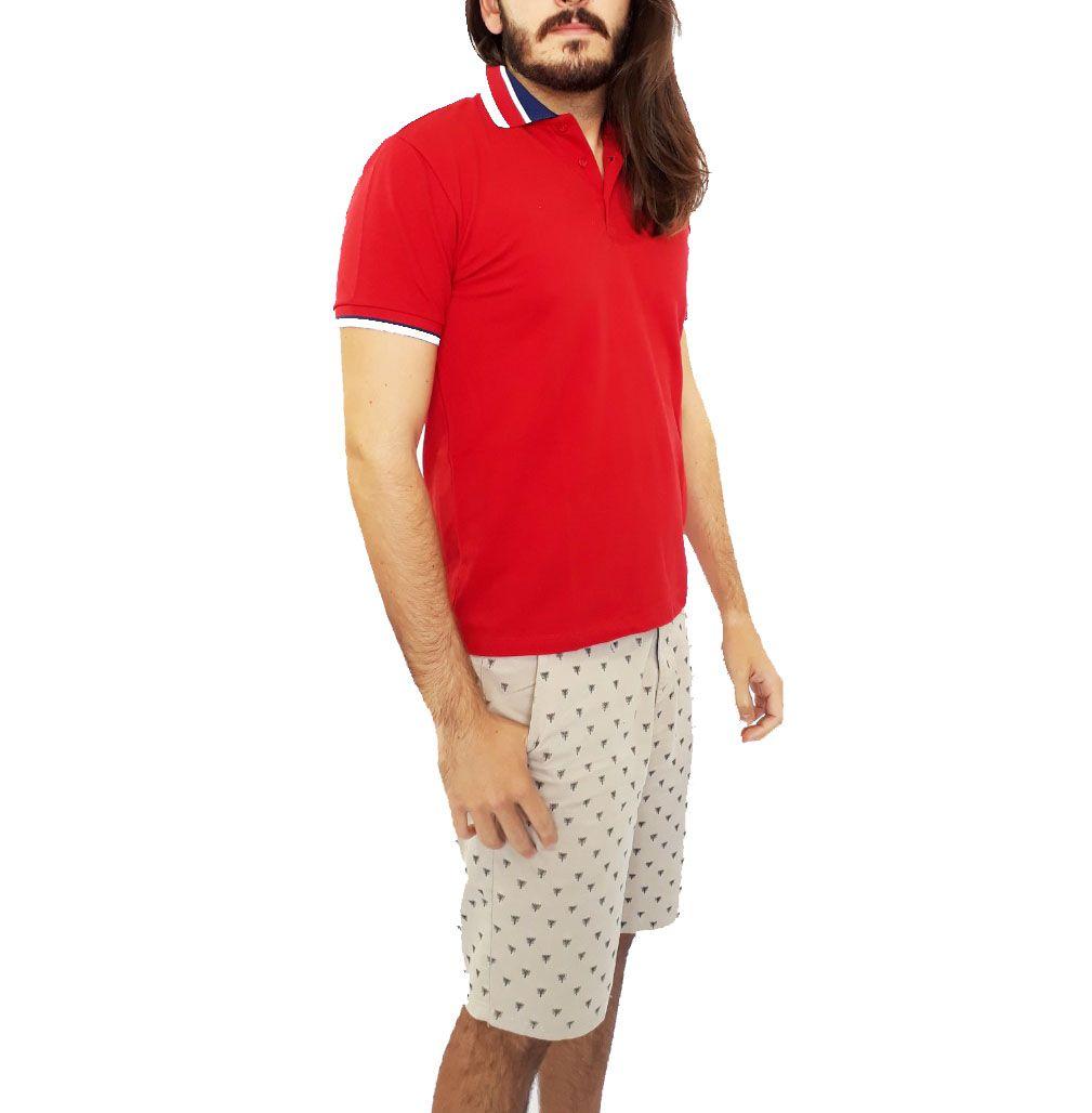 Camiseta Cavalera Masculina Gola Polo Vermelha