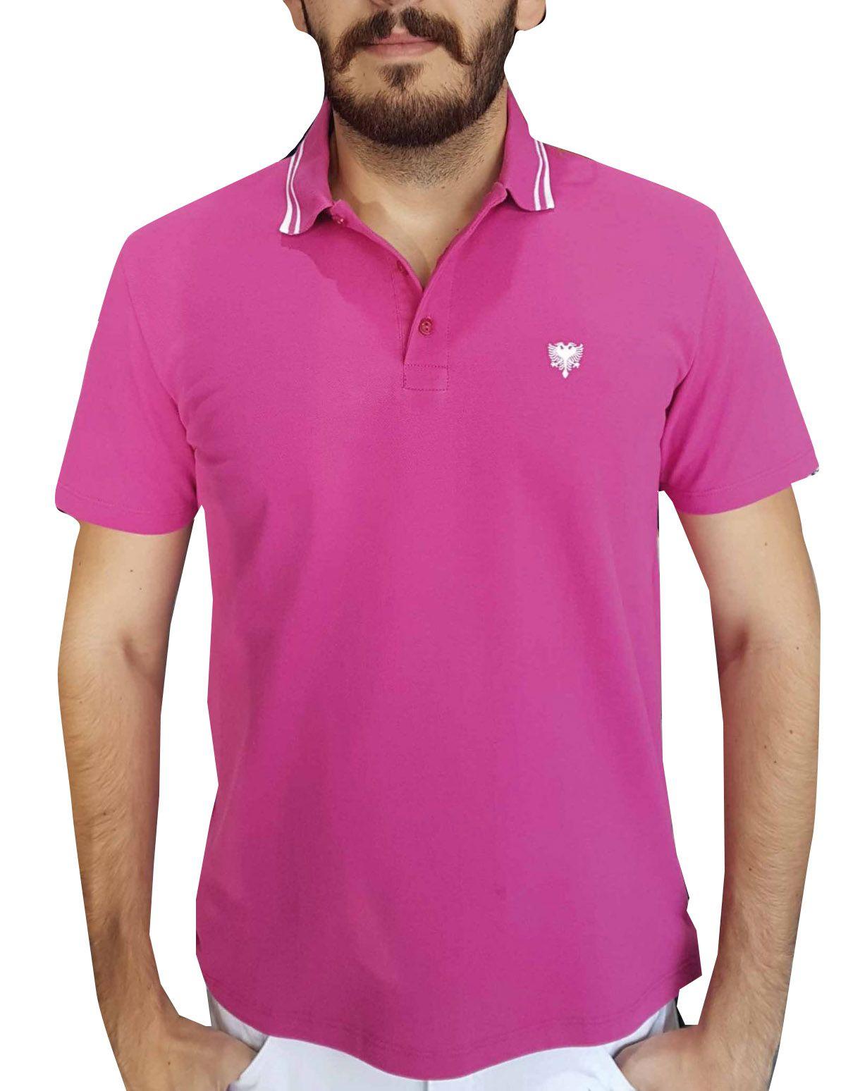Camiseta Cavalera Masculina Rosa Polo Piquet