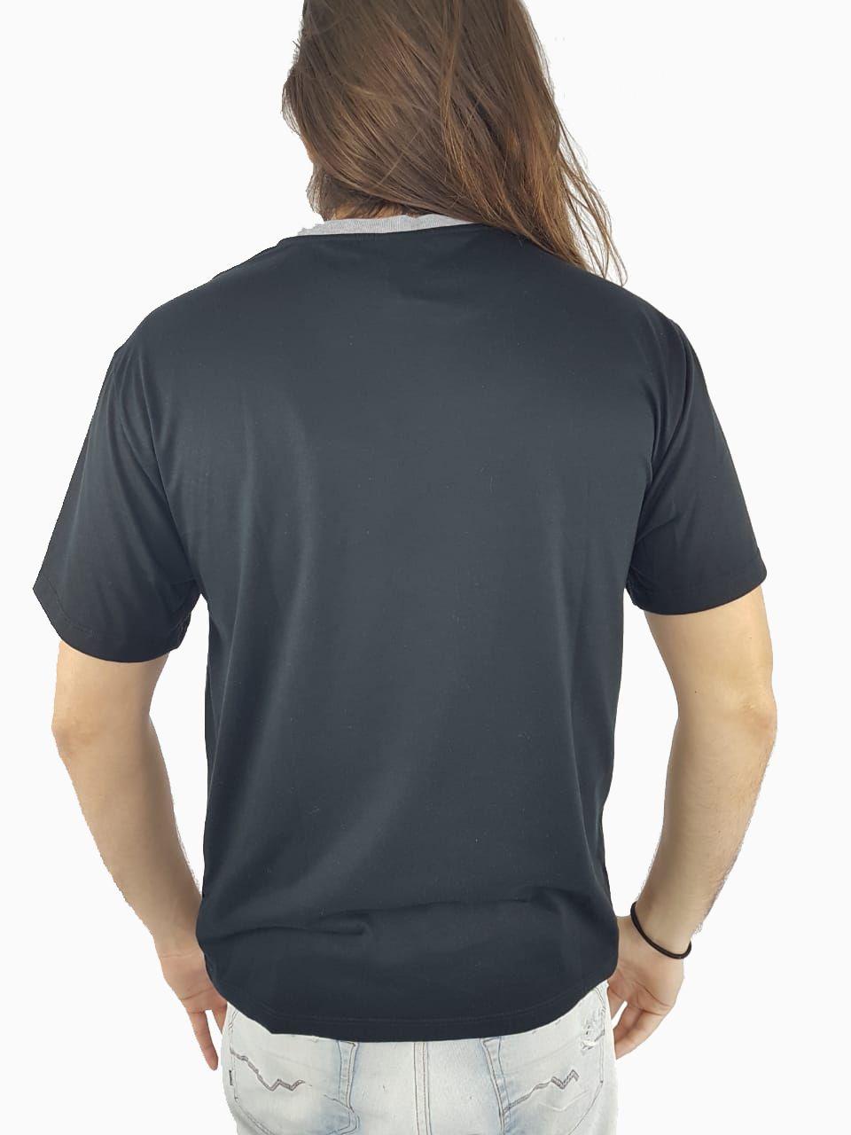 Camiseta Masculina Cavalera Estampada Preta Mescla
