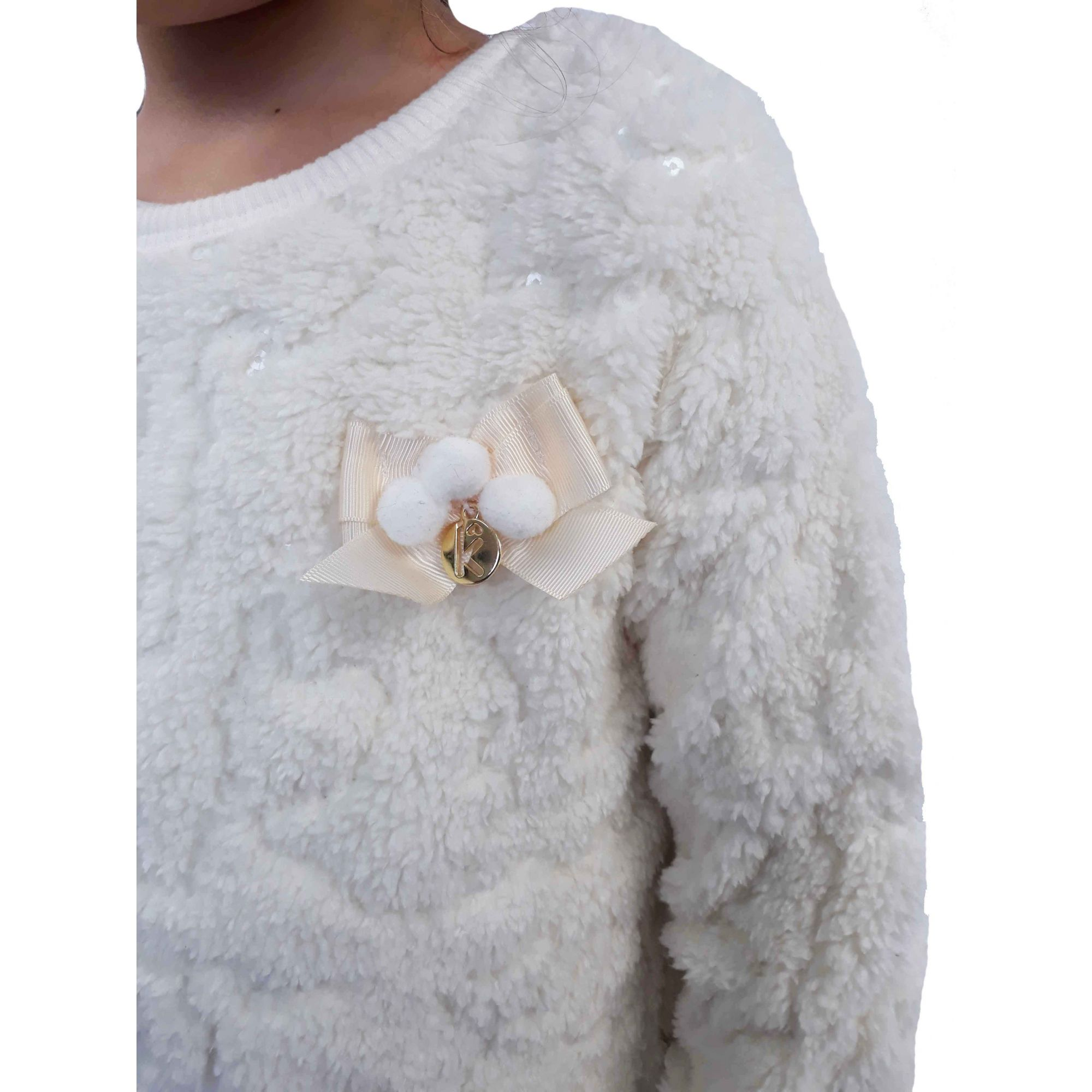 Casaco Kukie Feminino Branco Lã Natural
