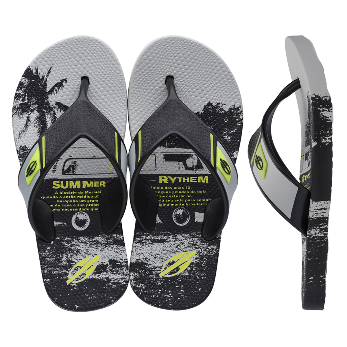 Chinelo Mormaii Masculino Neocycle Infantil Cinza
