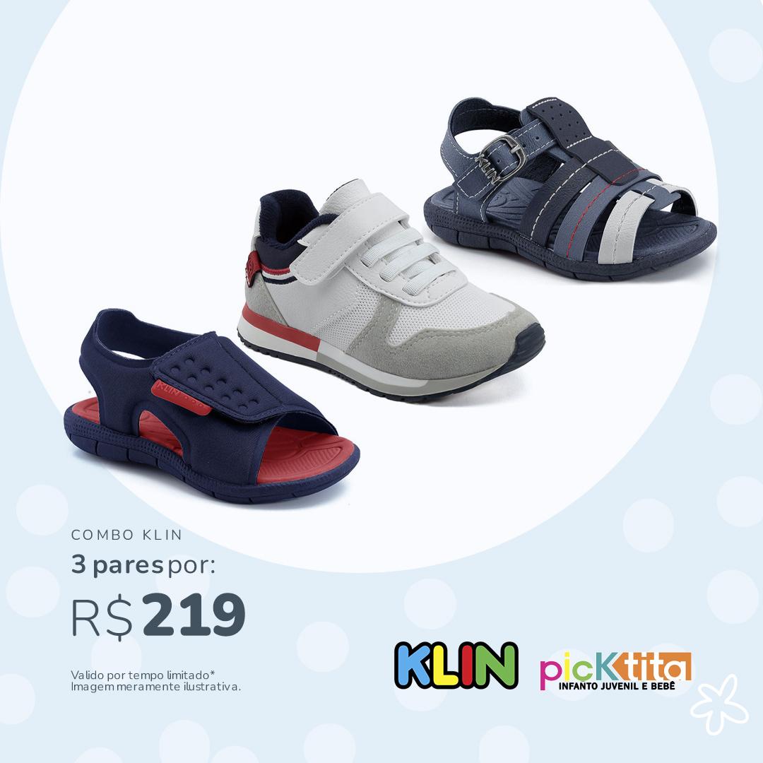 Combo Casual Klin 2 Sandálias + 1 Tenis: De R$253 Por apenas R$219
