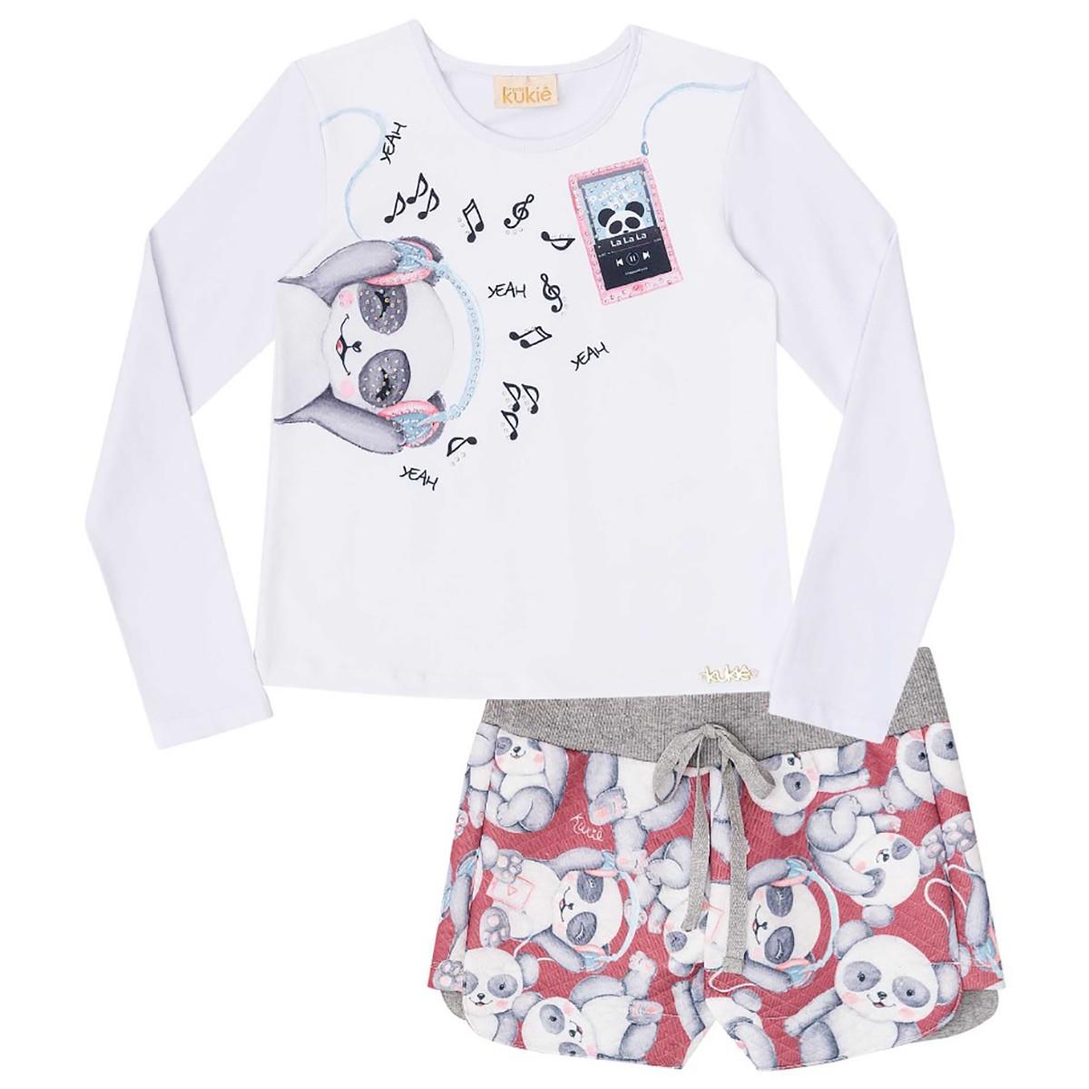 Conjunto Kukie Infantil Feminino Panda Divertido