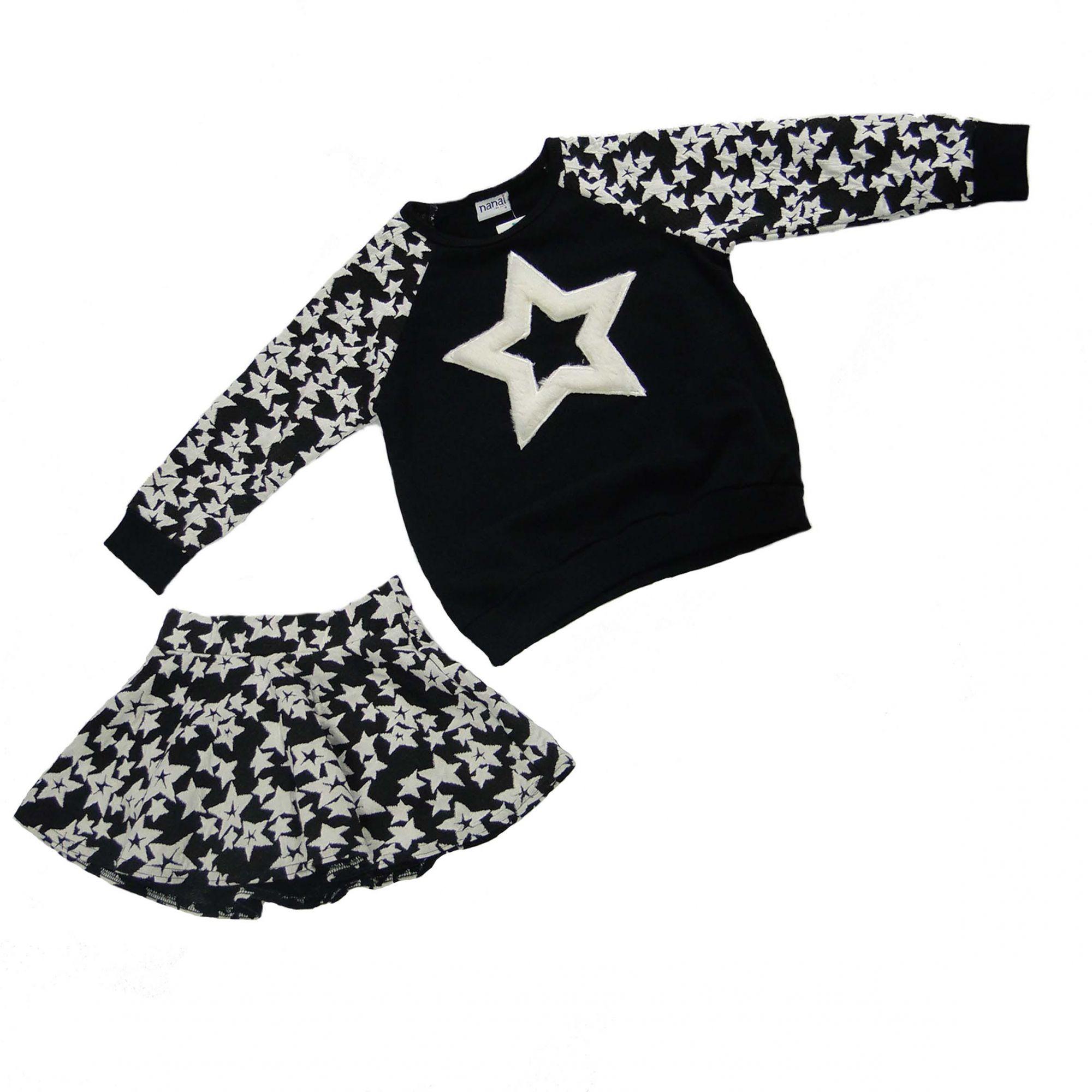 Conjunto Nanai Feminino Estrelas Preto