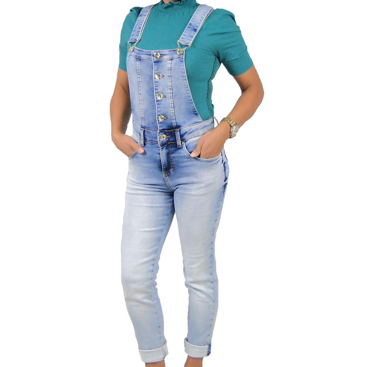 Jardineira Ilicito Botões  Jeans Claro