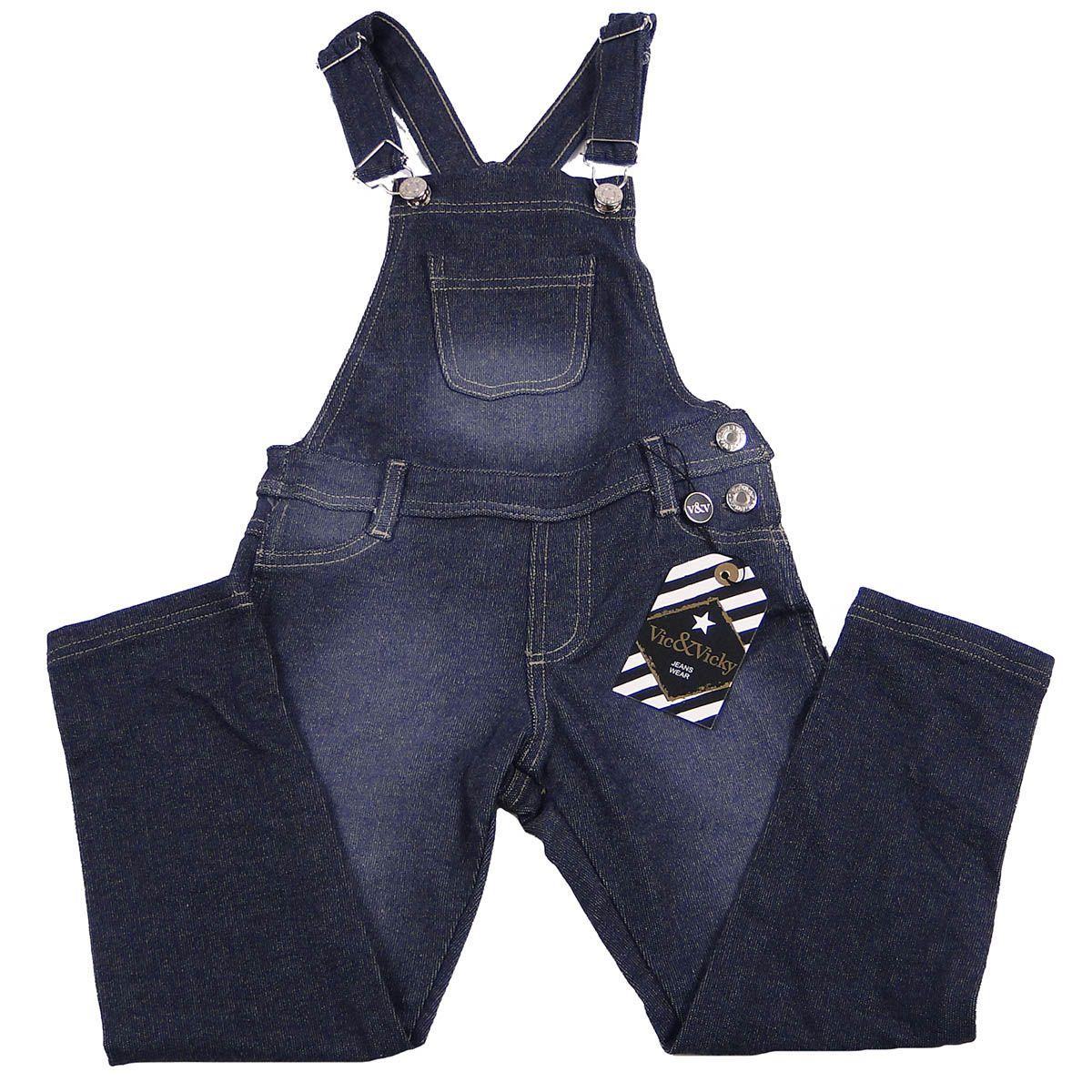 Jardineira Vic e Vick Feminina Infantil Jeans