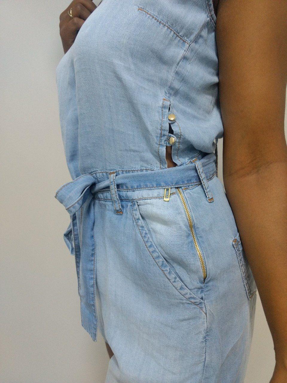Macacao Feminino Ilicito Jeans Claro  - Pick Tita