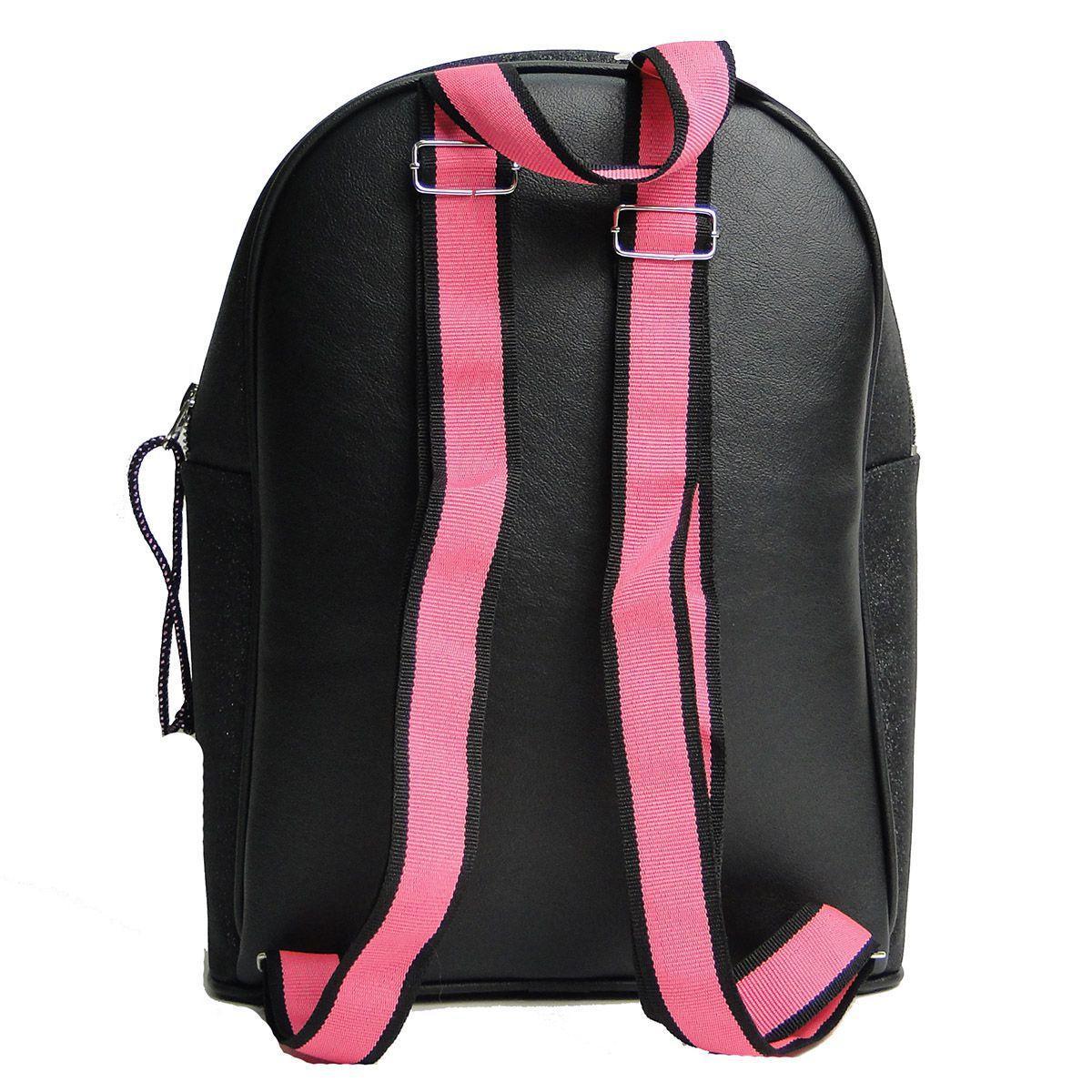 Mochila Twennie Infantil Feminino Preta com Pink