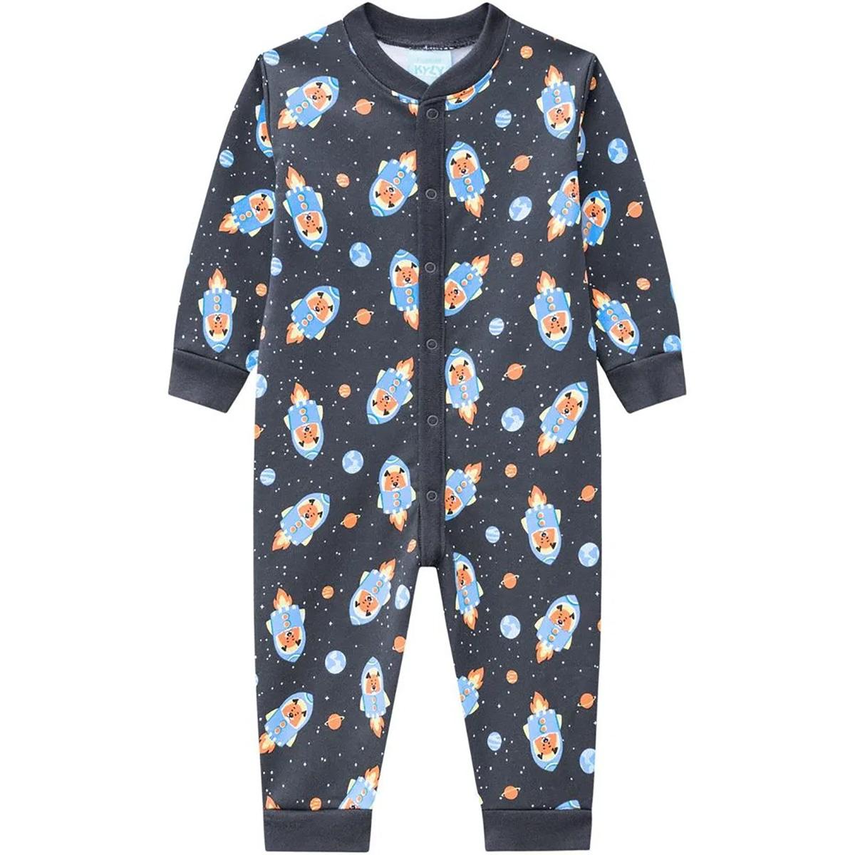 Pijama Macacão Kyly Em Meia Malha Estampa Foguete