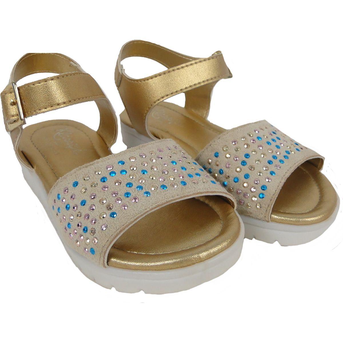 Sandalia Klasipe Feminina Pedras Dourada