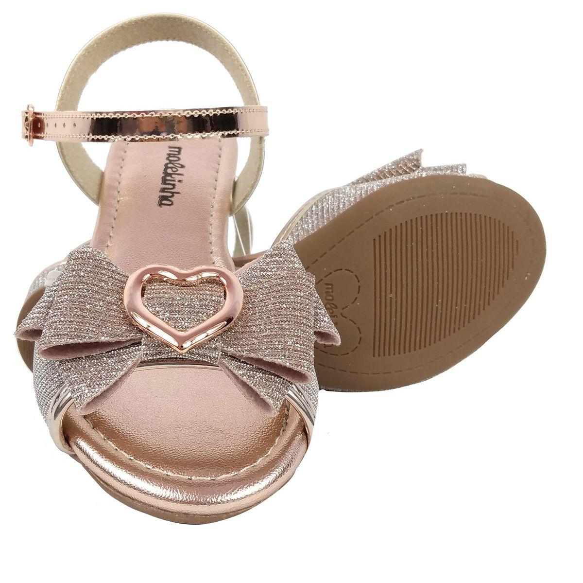 Sandalia Molekinha Feminina Rosa Dourado Coração