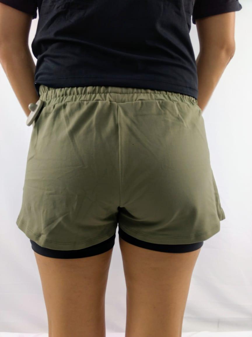 Shorts Feminino Alto Giro Sobreposto Verde
