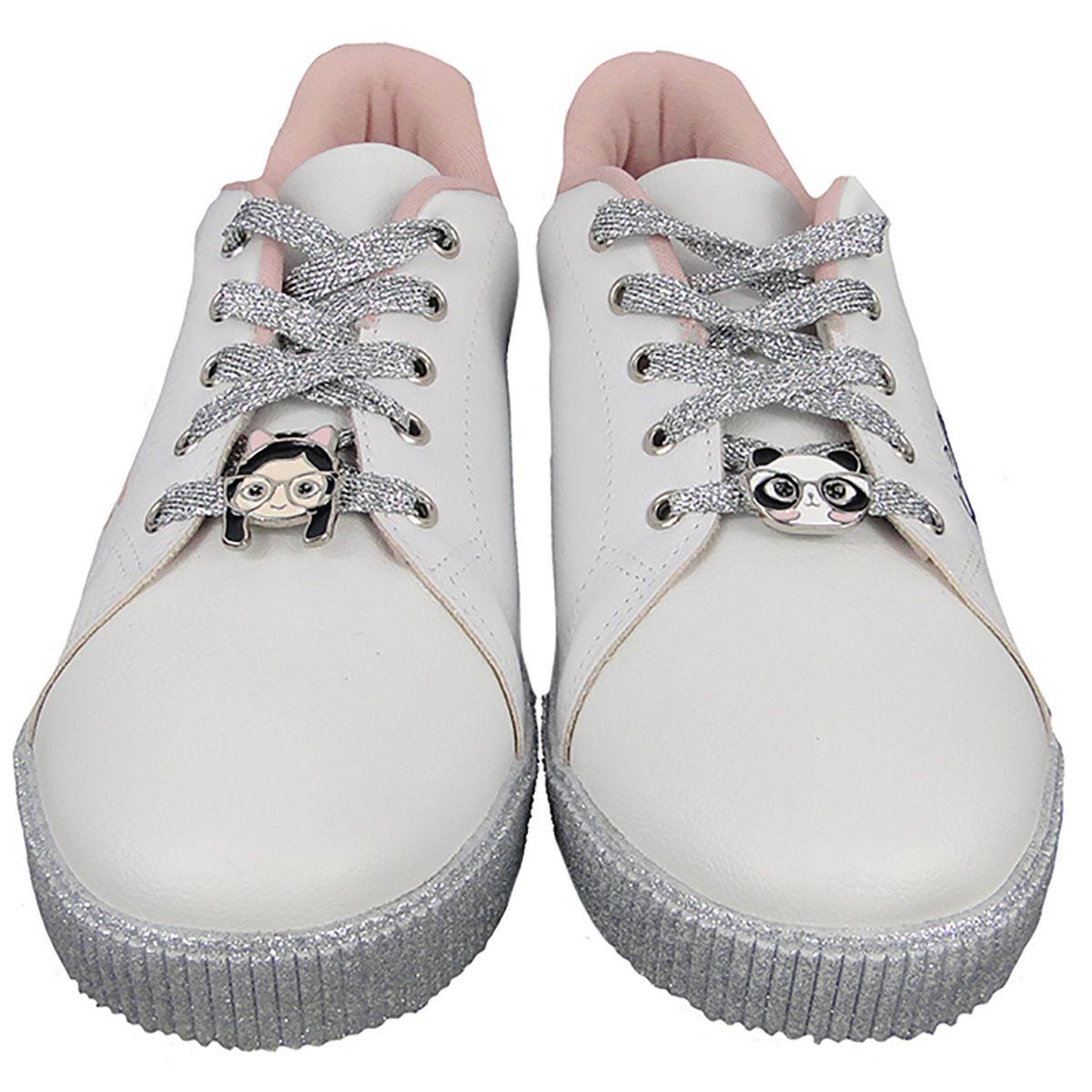 Tenis Infantil Luluca Pampili Blog Branco Glitter e Patches