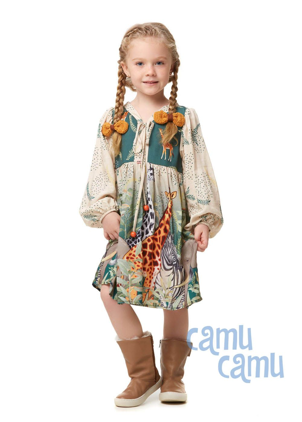 Vestido Camu Camu Feminino Girafa Curto