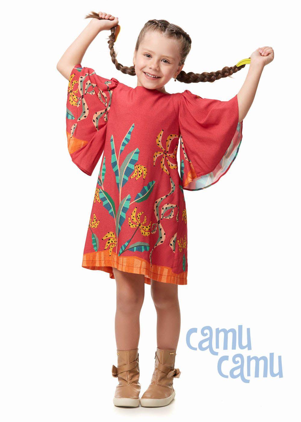 Vestido Camu Camu Feminino Infantil Bananas