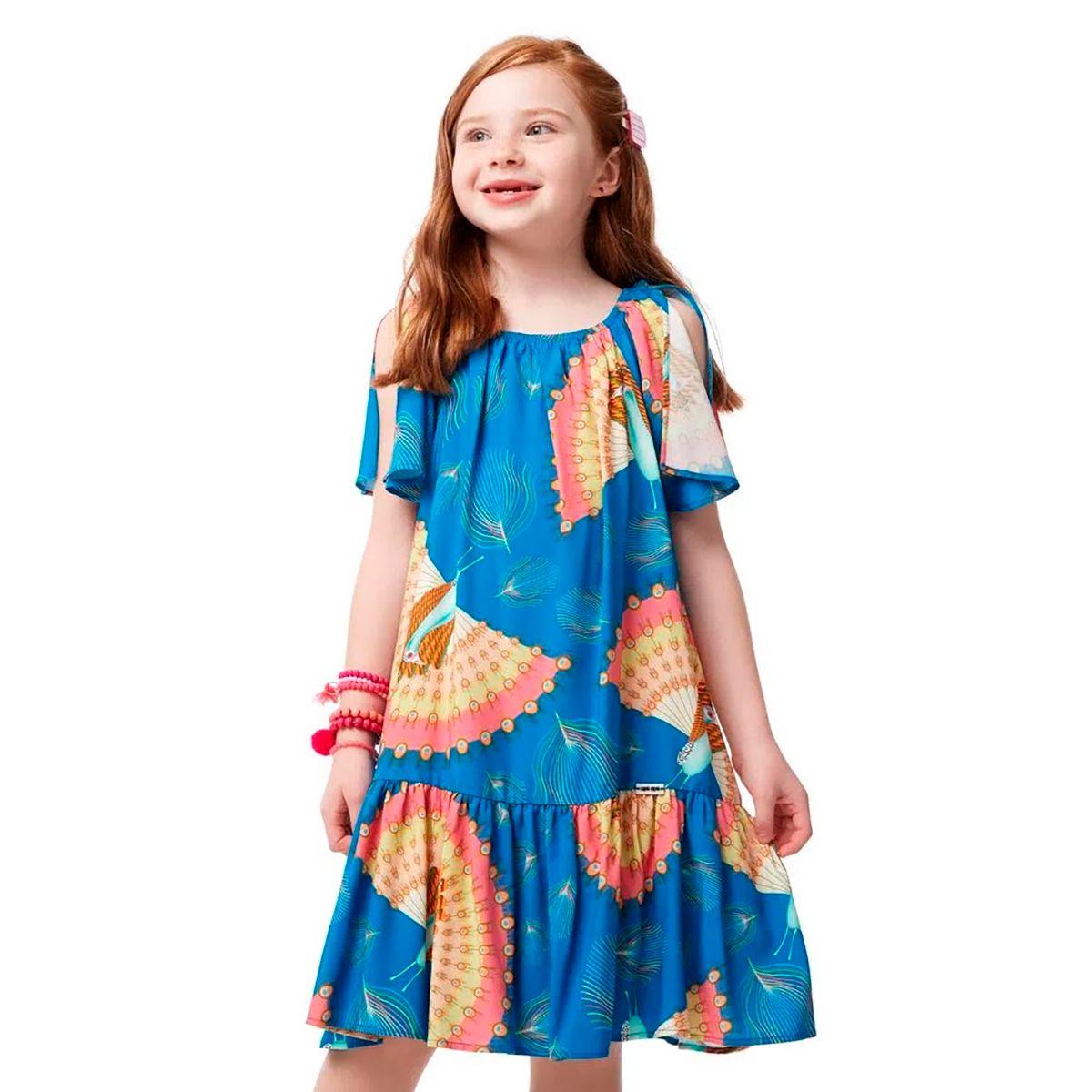 Vestido Camu Camu Feminino Pavao Leque Azul