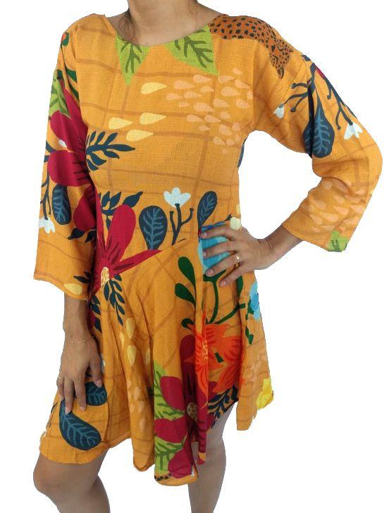 Vestido Feminino Infantil Camu Camu Floral Amarelo