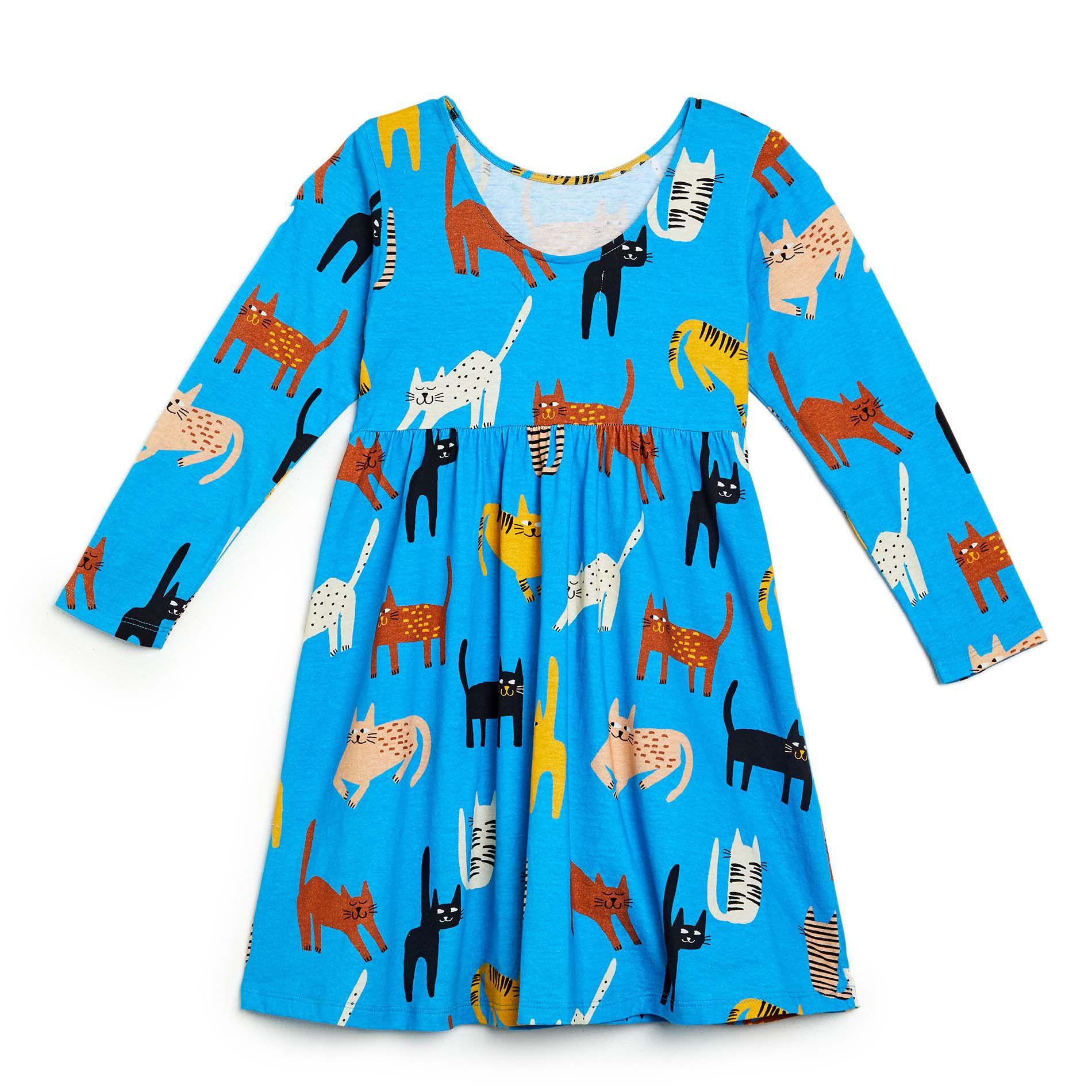 Vestido Fábula Feminino Gato Mia Azul