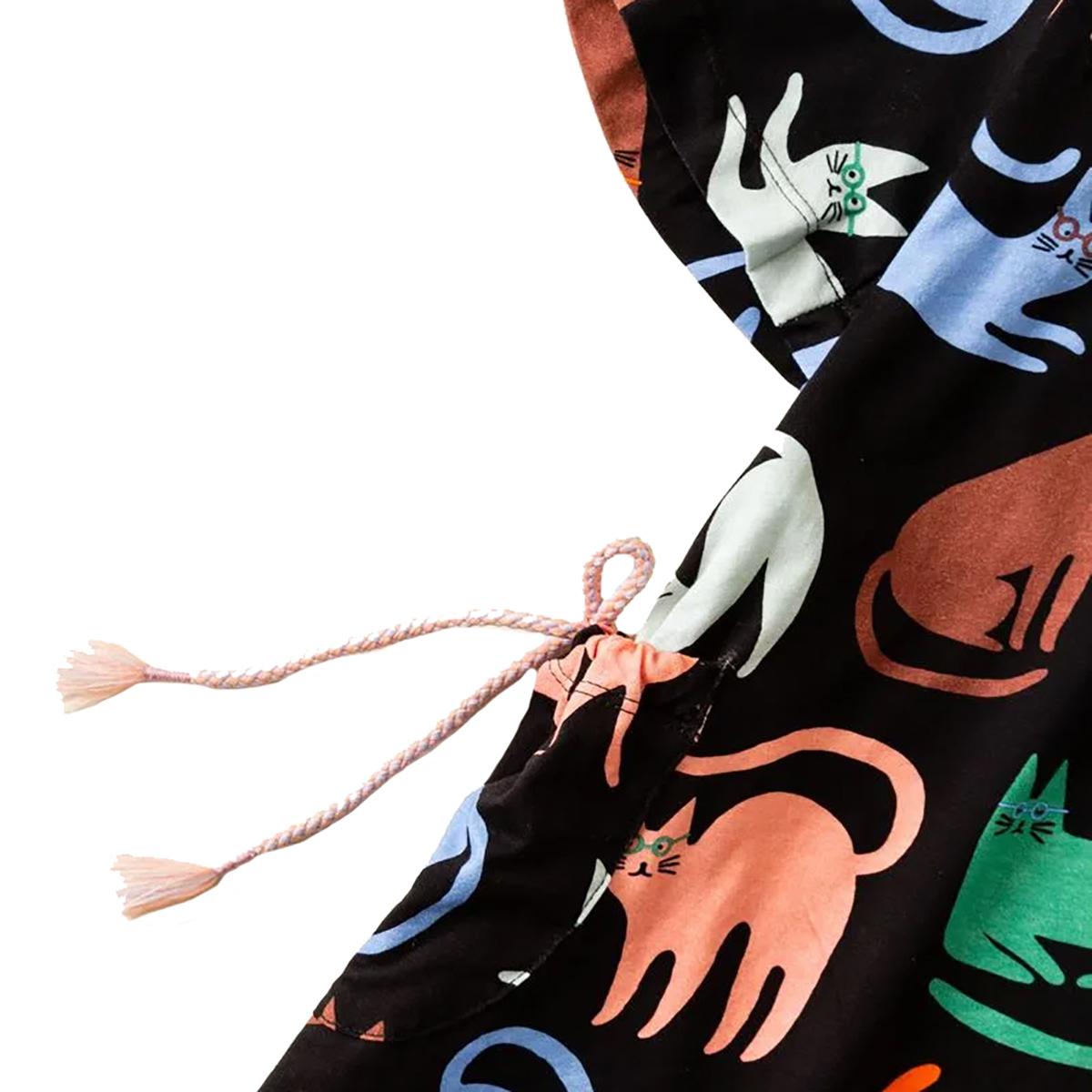 Vestido Fabula Feminino Infantil Malha Gato Vovô