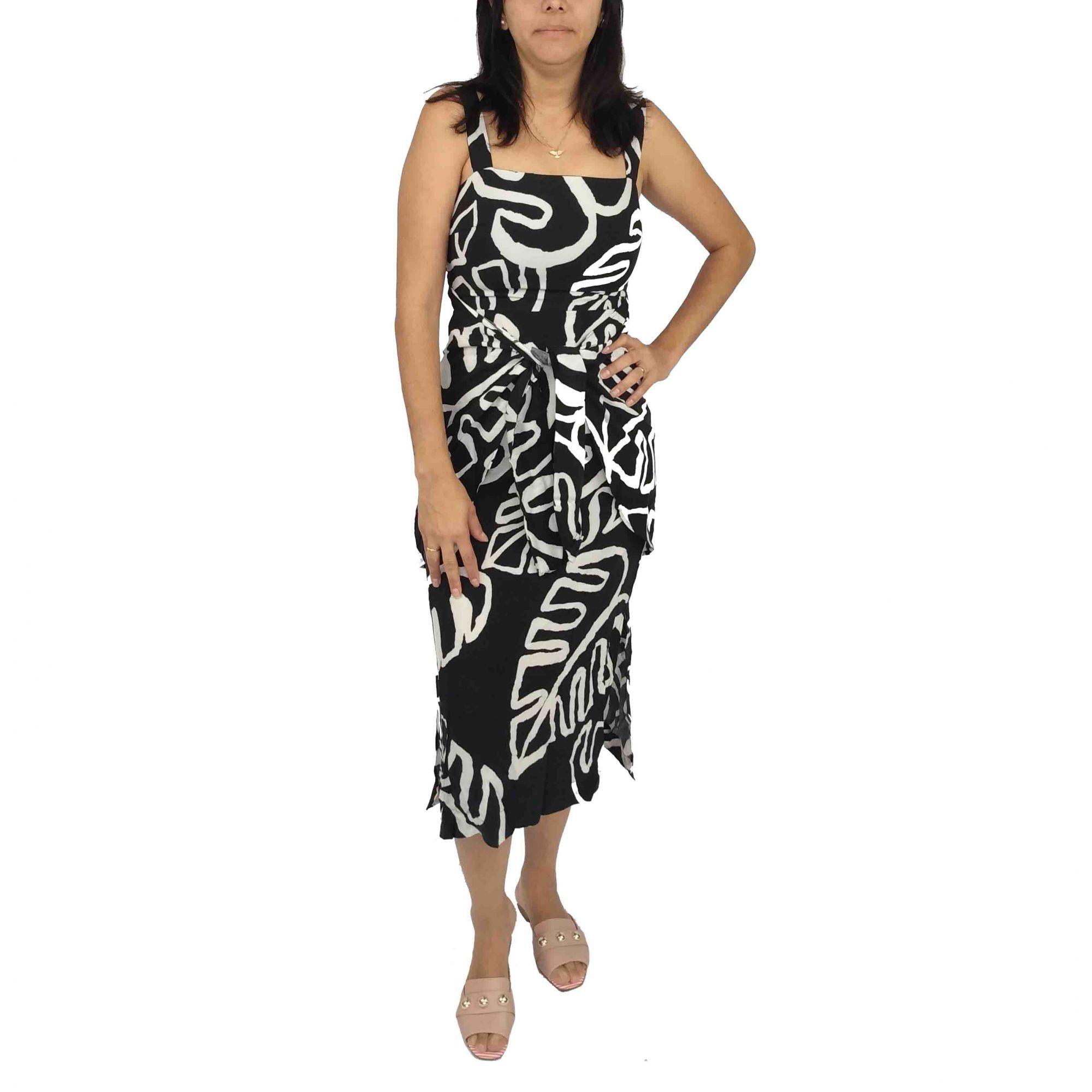Vestido Farm Feminino Folhas Preto e Branco